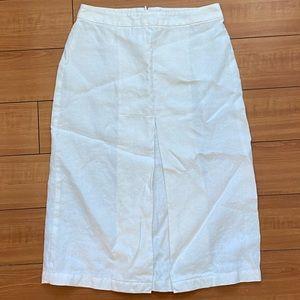 Max Mara Weekend White Linen Pleated Knee Skirt Sm